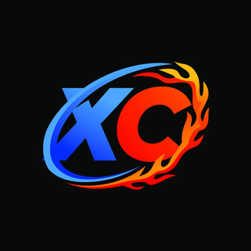 Initial Letters XC Fire Logo Design