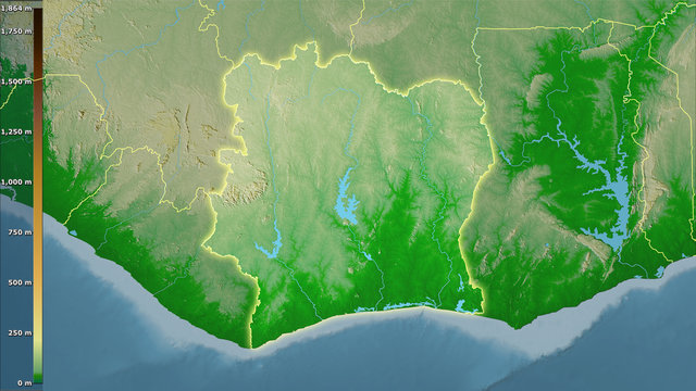 Cote dIvoire, topographic physical - light glow