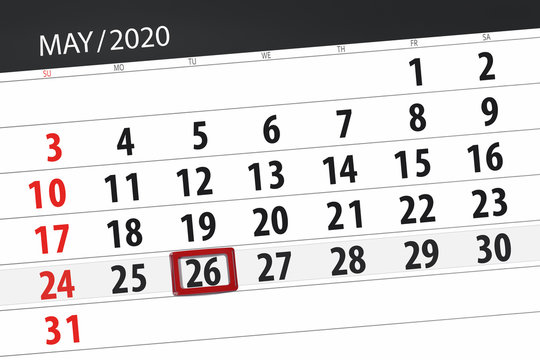 Calendar planner for the month may 2020, deadline day, 26, tuesday