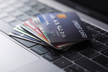 Online credit card payment for purchases from online stores and online shopping.