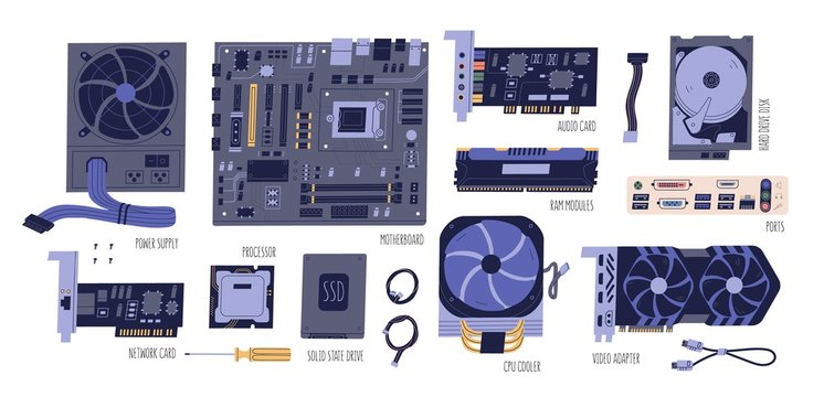 Collection of computer components. Pc and laptop parts: power supply, motherboard, audio card, HDD, RAM, network card, SSD, processor, CPU, video adapter isolated on white. Vector flat illustration