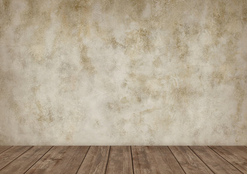 Background for photo studio with wooden table and backdrop.