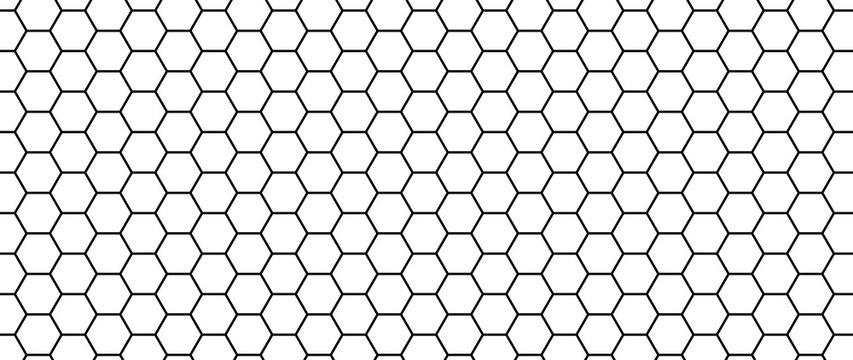 Hexagon seamless pattern. Honeycomb vector texture. Futuristic hexagonal simple structure. Modern mesh for textile. Honey grate