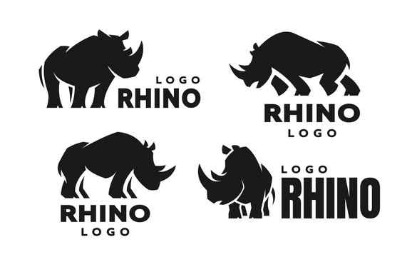 African rhino silhouette. Set of logos. Vector illustration.