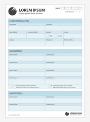 Obraz A clean form for customer information. Template document vector on real estate, finance credit mortgage. Collection client statistical studies. - fototapety do salonu