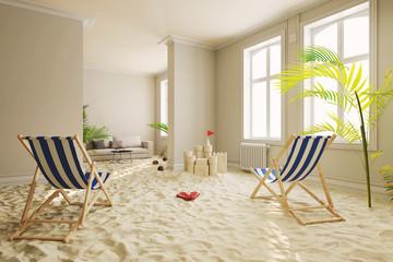 Entspannung in Quarantäne mit Strand im Wohnzimmer zu Hause