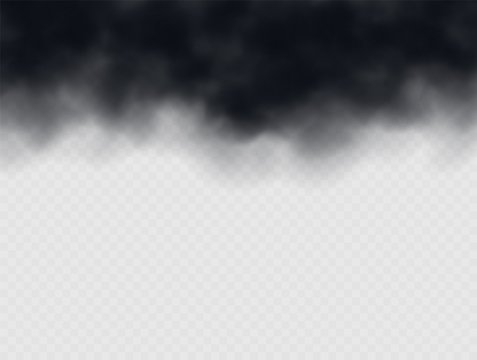 Black smoke cloud, stormy weather. Air pollution concept. Black cloudiness or smog. Realistic thick dark cloud effect. Vector illustration.