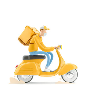Safe delivery concept. 3d illustration. Cartoon character. The courier in medical mask and yellow uniform is in a hurry to deliver the order on a  motor bike.