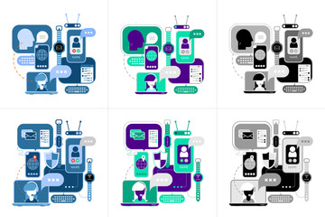Two sets of multicolored and monochromatic Online Communication designs isolated on a white background.