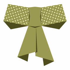 Simple golden bow decorated with dot pattern. EPS10