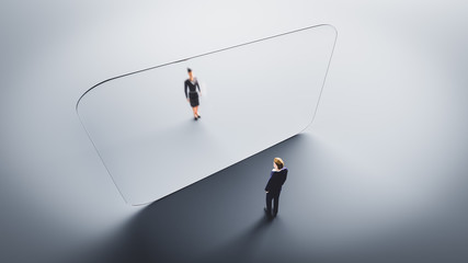 Photo sur Aluminium Pierre, Sable Man and woman meet on both sides of glass wall. Protection against Coronavirus COVID-19,