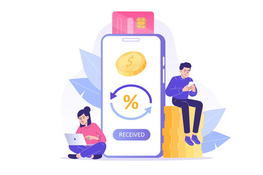 Online cashback concept. Happy people receiving cashback for a buyer. Coins or money transfer from smartphone to e-wallet. Online banking. Saving money. Money refund. Isolated vector illustration