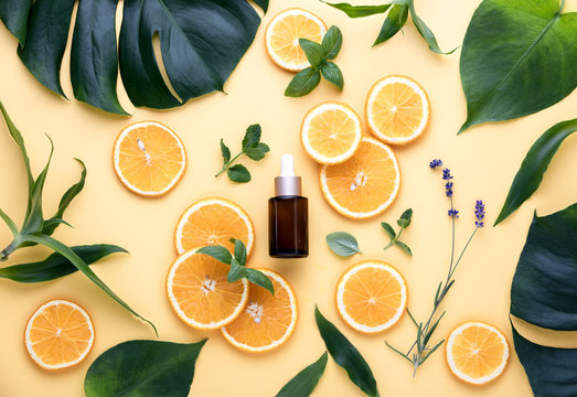 Natural cosmetics concept, fresh ingredients for skin treatment serum