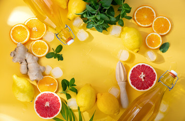 Summer lemonade, cocktail or another drink background with ingredients