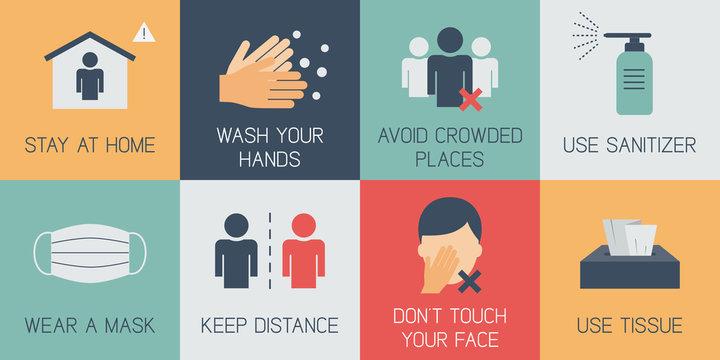 Covid-19 prevention infographic. Coronavirus flat icons set. Coronavirus outbreak tips. Medical poster. Vector illustration.