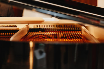 Close up of pattern of hammers and strings inside grand piano