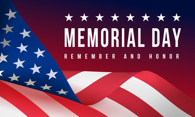Memorial Day - Remember and Honor Poster. Usa memorial day celebration. American national holiday Fotomurales