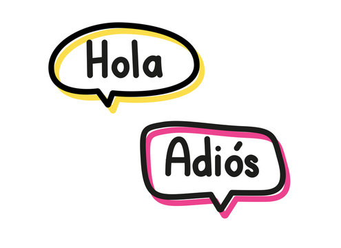 Hola adios. Handwritten lettering illustration. Black vector text in pink and yellow neon speech bubbles. Simple outline style