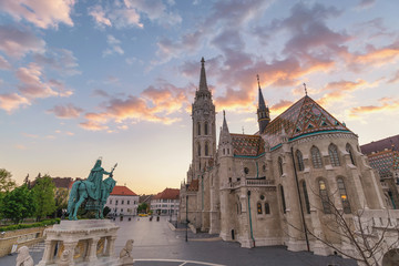 Budapest Hungary, city skyline sunset at Matthias Church and Fisherman Bastion Wall mural