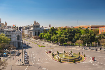 Madrid Spain, city skyline at Independence Square and Cibeles Fountain nobody empty
