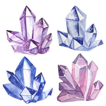 watercolor crystals set