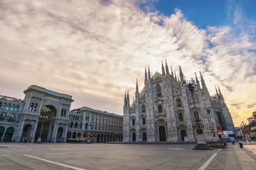 Acrylic Prints Milan Milan Italy, city skyline sunrise at Milano Duomo Cathedral empty nobody