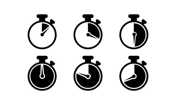 Timer, stopwatch, chronometer, time, clock icon . Countdown 10, 20, 30, 40, 50, 60 minutes on an isolated white background. EPS 10 vector.