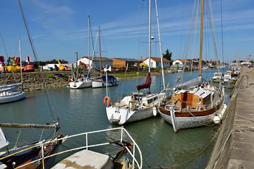Port of Noirmoutier en l'Ile at high tide in Pays de la Loire region in western France