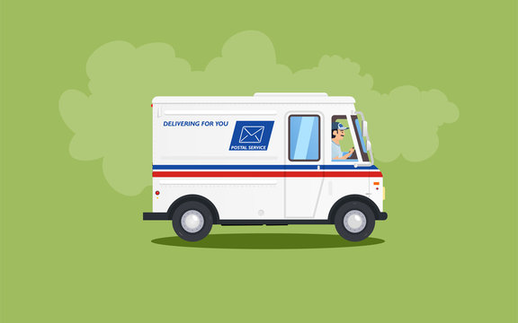 White flat cartoon post or delivery van vehicle with driver or courier on green background. Express mail delivery truck concept. Colors of USA mail service cars. Vector illustration.