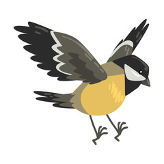 Cute Flying Titmouse Winter Bird, Beautiful Northern Birdie Vector Illustration
