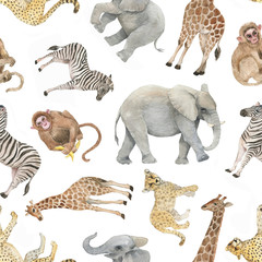 Hand drawn colorful seamless pattern with watercolor wild exotic animals. Summer repeated background
