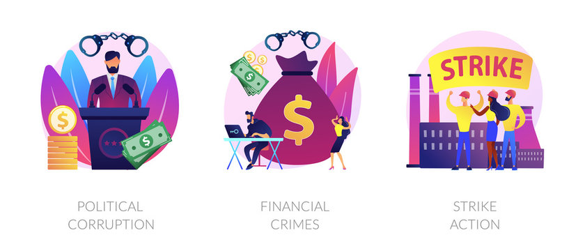 Dishonest government, money laundering, social demonstration icons set. Political corruption, financial crimes, strike action metaphors. Vector isolated concept metaphor illustrations