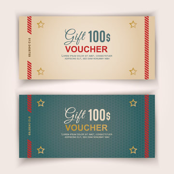 Voucher template, Value 100 dollars for department stores, business, Christmas. Simple template with texture.
