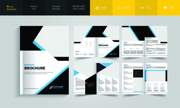 8 pages A4 Size Corporate Business Brochure