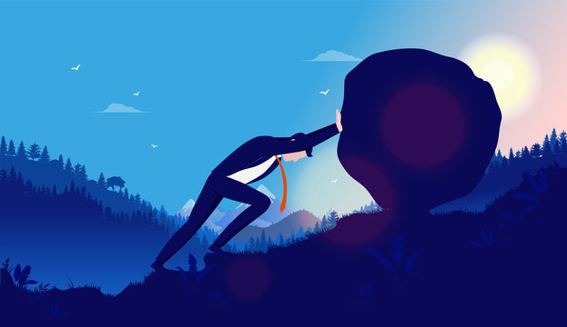 Heavy task and problems - Business man pushing heavy rock up hill with sun mountains and forest in background. Hard work, reach success, overcome adversity concept. Vector illustration.