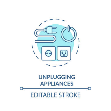 Unplugging appliance turquoise concept icon. Cable safety. Domestic electricity consumption. Resource saving idea thin line illustration. Vector isolated outline RGB color drawing. Editable stroke