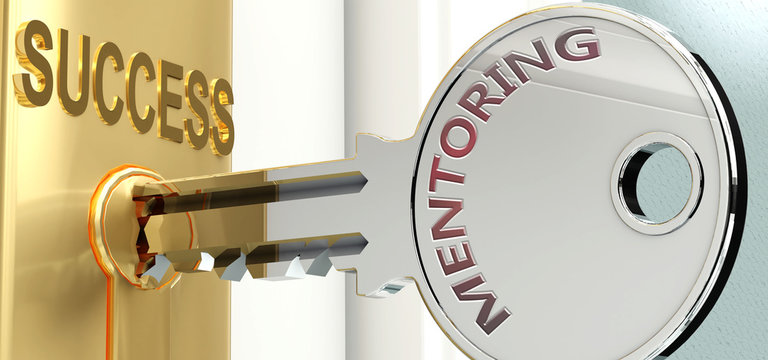 Mentoring and success - pictured as word Mentoring on a key, to symbolize that Mentoring helps achieving success and prosperity in life and business, 3d illustration