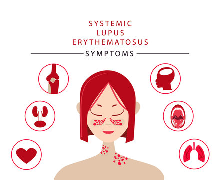 asian japanese korean chinese chinese vietnamese girl with symptoms of systemic lupus erythematosus, vector stock illustration in cartoon flat style, for dermatologist site, autoimmune disease