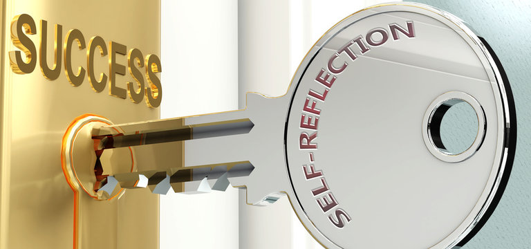 Self reflection and success - pictured as word Self reflection on a key, to symbolize that Self reflection helps achieving success and prosperity in life and business, 3d illustration
