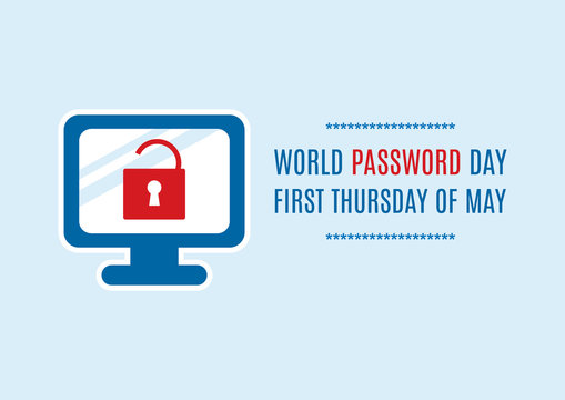 World Password Day vector. Password protected computer vector. Secure computer icon vector. Computer with lock icon. Important day