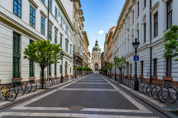 Budapest, Hungary - May 4, 2020: Empty Zrinyi street at St. Stephens Basilica on Budapest center.