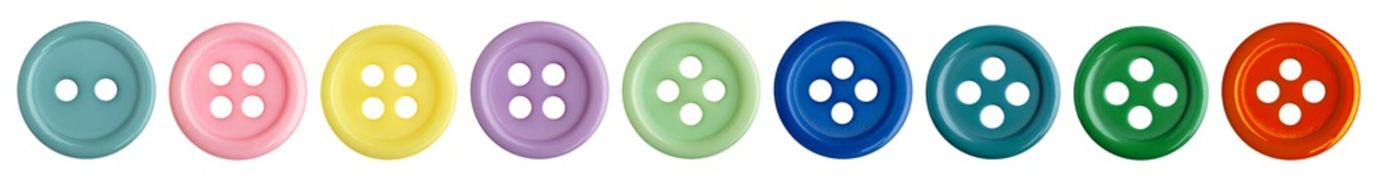 Set of sewing buttons for fashion clothes isolated on white background. Colored fashion buttons collection for your fashion design.