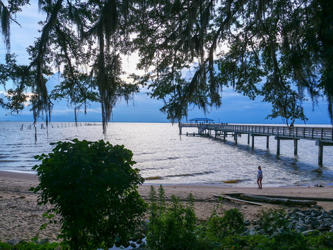 Mobile Bay beach at MayDay Park Pier in Daphne Alabama