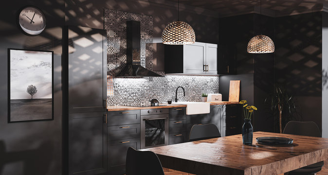 Scandinavian style black kitchen with patterned tiles and bedroom