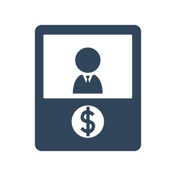 Bank teller icon. Bank cashier's desk sign. Flat icon design for finance concept.