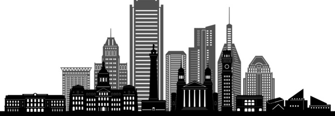 Fototapete - BALTIMORE MARYLAND City Skyline Silhouette Cityscape Vector