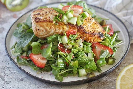 Sweet Summer Strawberry Kiwi Seared Halibut Salad