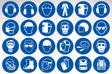 Required Personal Protective Equipment (PPE) Symbol,Safety Icon