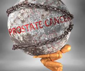 Prostate cancer and hardship in life - pictured by word Prostate cancer as a heavy weight on shoulders to symbolize Prostate cancer as a burden, 3d illustration