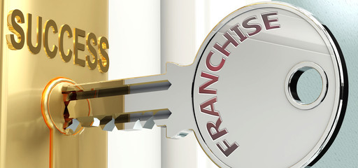 Franchise and success - pictured as word Franchise on a key, to symbolize that Franchise helps achieving success and prosperity in life and business, 3d illustration